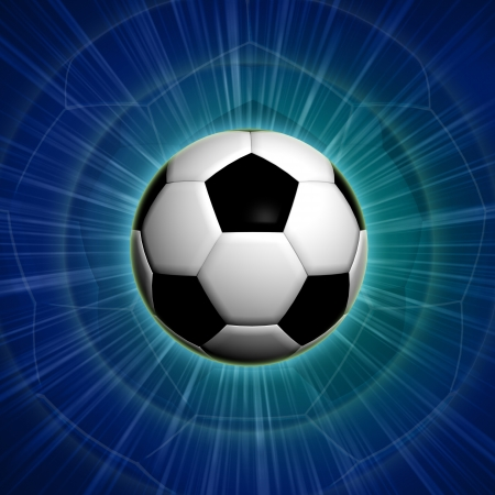 football ball with over blue background with lights photo