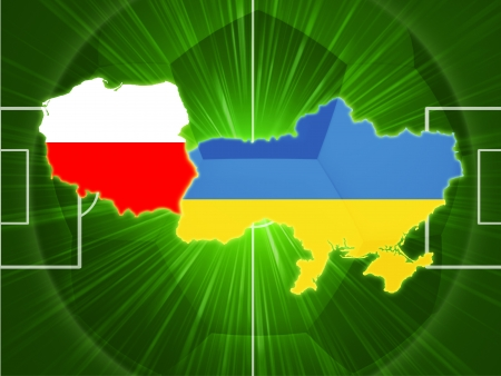 Polish and Ukrainian maps with flags over football field photo