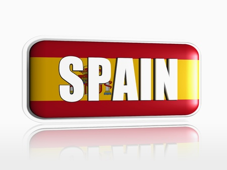 Spanish flag 3d banner with white text photo