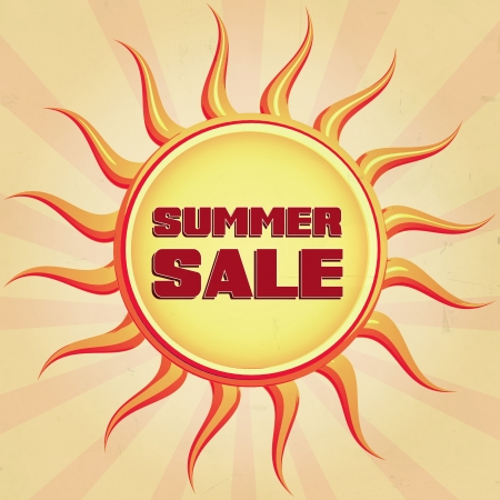 Summer sale retro style illustration of sun with text illustration