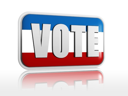 successful campaign: Vote color 3d banner with white text Stock Photo