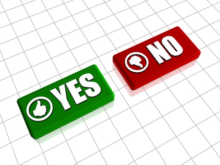 Yes and no 3d red and green blocks with text and hand signs photo