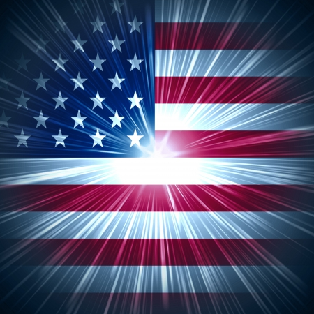 Abstract background USA flag with light rays Stock Photo - 14013490