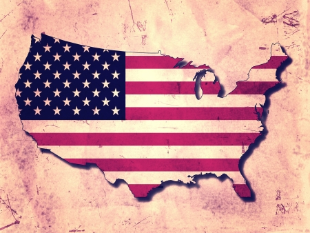 USA map with flag over old paper background photo