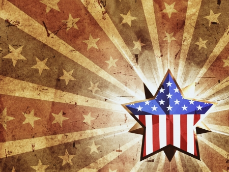 war decoration: 3d golden star with usa flag over vintage background with rays