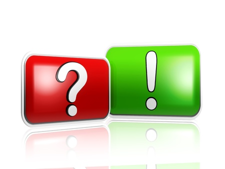 3d question and answer sign over red and green boxes Stock Photo - 14013459