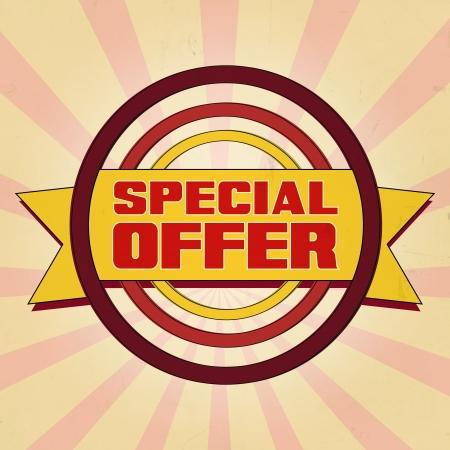 cost estimate: Special offer  vintage style illustration banner over old background
