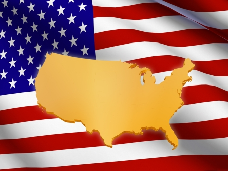 3d golden USA map over American flag Stock Photo - 14013486