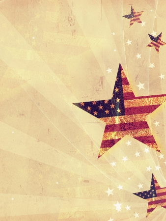 fourth july: stars with USA flag and rays over old paper background