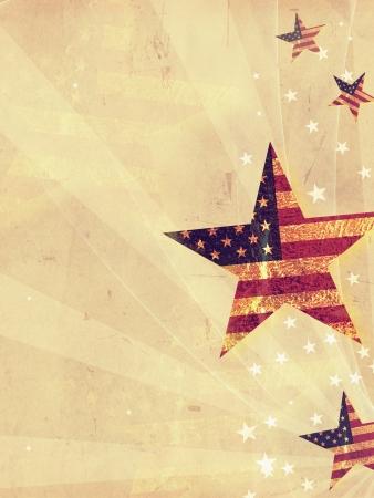 fourth of july: stelle con bandiera USA e raggi su sfondo vecchia carta