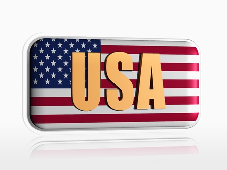 usa flag over 3d banner with text Stock Photo - 14013461