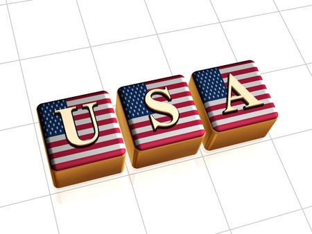 usa flag over 3d golden cubes with text Stock Photo - 14013465
