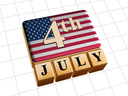 forth of July text over 3d golden cubes with USA flag Stock Photo - 14013470