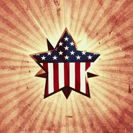 3d golden star with usa flag over vintage background with rays photo