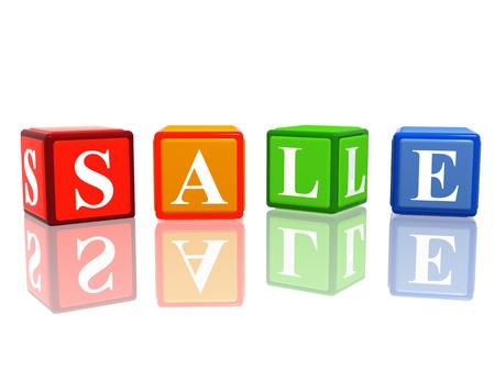 sale in 3d color cubes with letters Stock Photo - 14117949