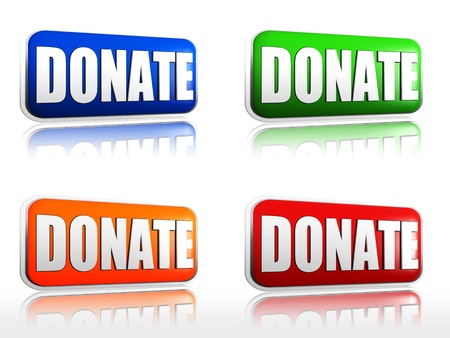 Donate four color buttons with sign red, blue, orange, green photo