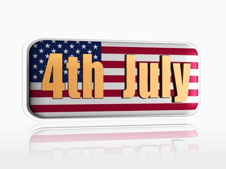fourth of July golden text over 3d banner with USA flag Stock Photo - 14117956