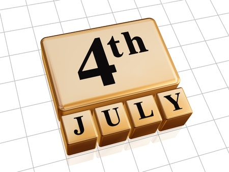 3d golden cubes with text fourth of July Stock Photo - 14117959