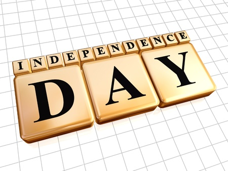 3d golden cubes with text independence day Stock Photo - 14117964