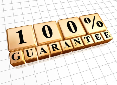 100 percent guarantee golden boxes with black letters photo