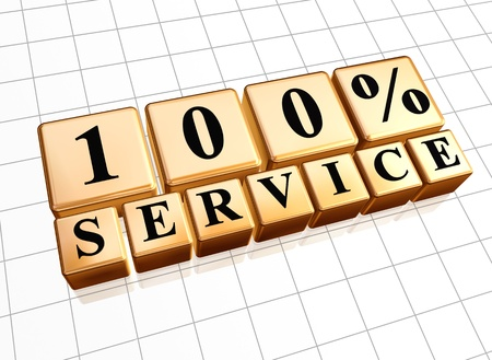 gold standard: 100 percents service golden boxes with text