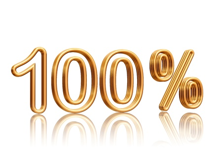 100 percent isolated 3d golden numbers with reflection Stock Photo - 14239554
