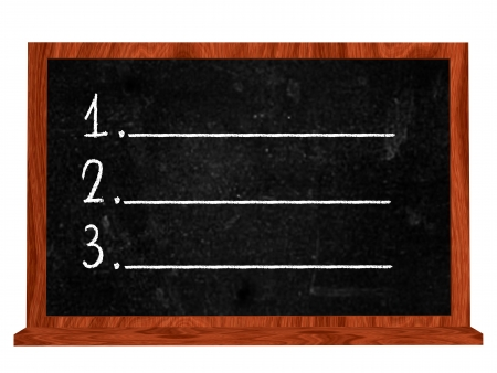isolated blackboard with white numbers one two tree photo