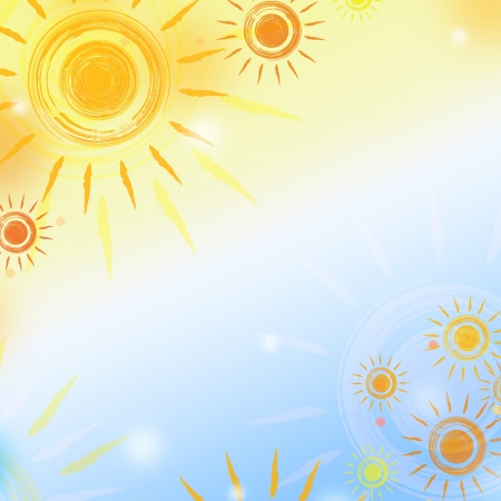summer background: abstract background - paint suns over gradient