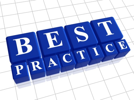 best practices: Best practice 3d blue boxes with white letters Stock Photo