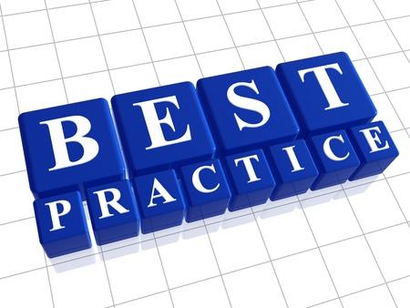 proces: Najlepsze praktyki 3d niebieskie pudełka z białymi literami