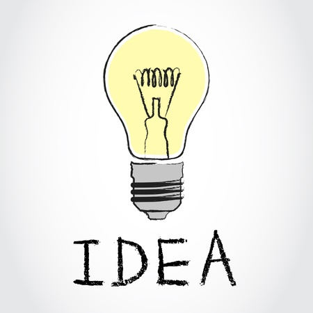 illustration of light bulb with text Idea illustration