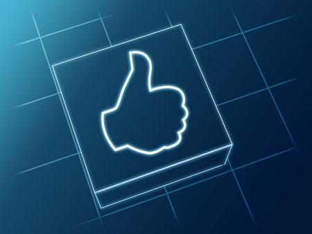 Wire glowing 3d boxes with hand sign Stock Photo - 14239520