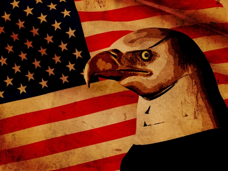 vintage style illustration American flag with eagle Stock Illustration - 14239572