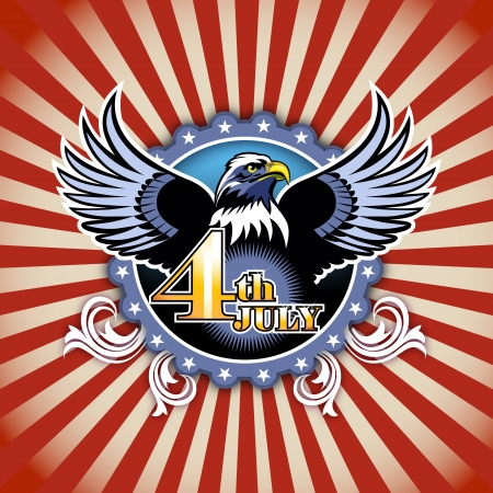 4th of July concept illustration of eagle and decoration  Stock Illustration - 14239550