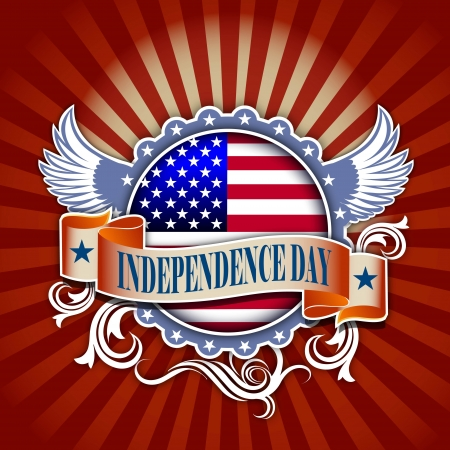 independence day concept illustration of USA flag  and decoration  illustration