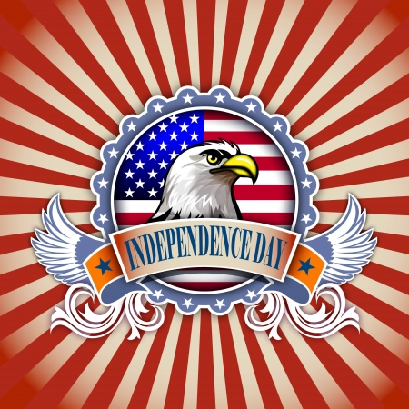 independence day concept illustration of eagle and decoration  illustration