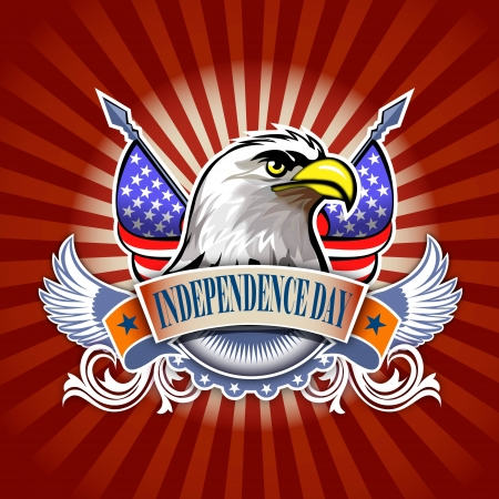 independence day concept illustration of eagle and decoration  Stock Illustration - 14239555