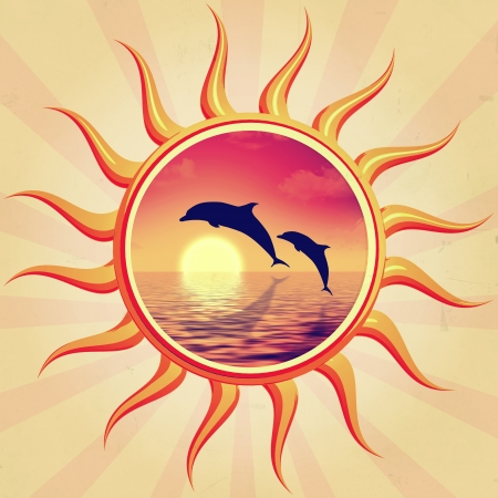 porpoise: retro illustration of sun with swimming dolphins  Stock Photo