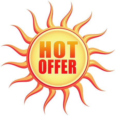 summer sale: Hot offer retro style illustration of sun with text