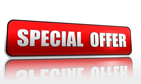 cost estimate: Special offer red banner with white letters Stock Photo