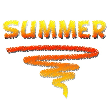 yellow illustrated text summer and abstract curve photo
