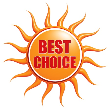 low prizes: Isolated 3d orange sun with text Best choice