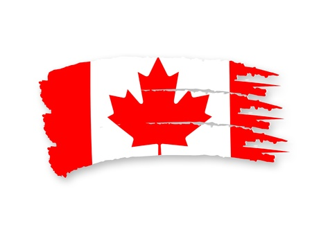 Illustration of Isolated hand drawn Canadian flag illustration