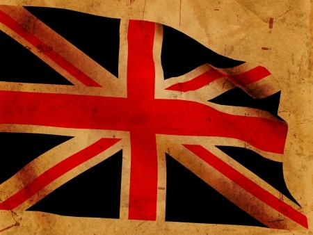 Illustration of 3d British flag over old paper illustration