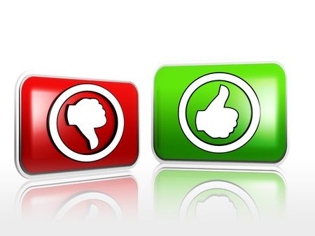 POSITIVE NEGATIVE: 3d red and green banners with hands Yes No Stock Photo