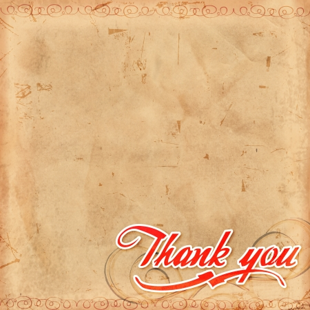 Thank you, text over old paper with decoration photo