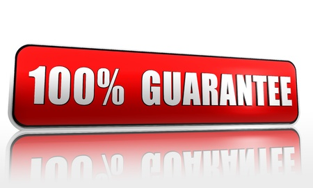promises: 100 percent guarantee red 3d banner with text Stock Photo