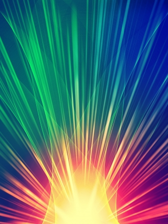 radiant light: abstract  ray light rainbow over black background Stock Photo