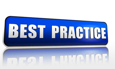 Best practice blue 3d banner with text Stock Photo - 14374125