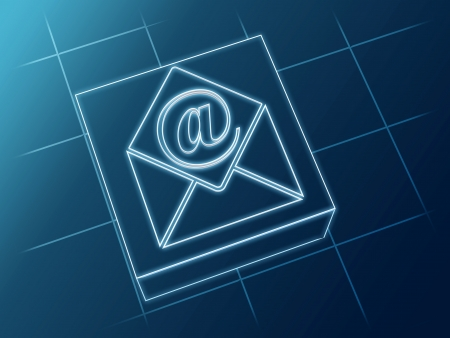 wire glowing email and envelope sign over box and net Stock Photo - 14374131